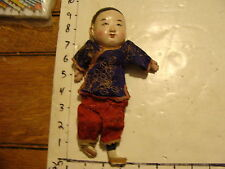 vintage CHINESE DOLL #4 blue and red, head split but there