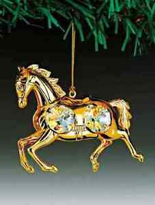 Horse FIGURINE - ORNAMENT 24KT GOLD PLATED WITH AUSTRIAN CRYSTALS