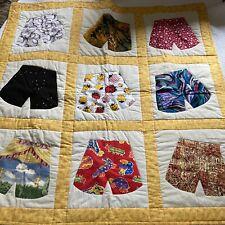 "Vintage Handmade Funny Underwear Boxer Summer Camp Novelty Fabric Quilt 43"""