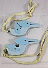Pair 1950's Crib Clips Blue Storks Birds Ducks Boy Baby Nursery Blanket Fastener