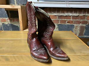 Dan Post Women Cowboy Boot Shoes 8C Red Looking Leather Broken In