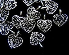 20pcs Vintage Tibetan Silver Charms Beads Hollow Heart Pendants Jewellery Craft