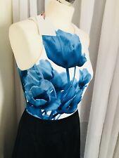 BNWT TED BAKER NIRIAH BLUE & BLACK BEAUTY FLORAL MAXI EVENING DRESS SIZE 2 Uk 10