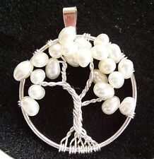 Tree of Life Pendant Necklace Genuine Pearl Wire Wrapped Silver June Birthstone