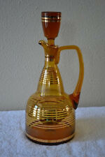 Vintage Bohemian Amber Glass Decanter Gold Leaf striped overlay Gorgeous Barware