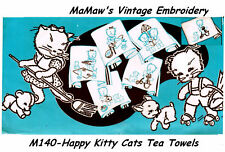 M125 Happy Kitten Tea Towel DOW Embroidery HOT IRON Transfer