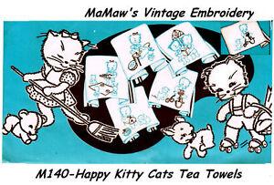 M125 Happy Kitten Tea Towel DOW Embroidery HOT IRON Transfer
