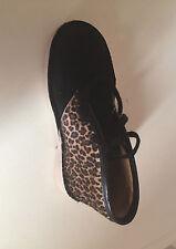 BN Clarks Girls Originals Leopard Print Black Suede Desert Boots 10 G Fitting