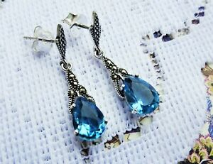My S Collection 925 Sterling Silver, Marcasite & CZ Drop Earrings