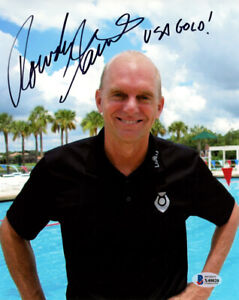 ROWDY GAINES SIGNED 8x10 PHOTO OLYMPIC GOLD SWIMMING HERO ANNOUNCER BECKETT BAS