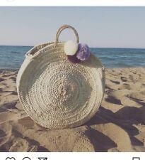 Handmade round straw beach bag.  New.