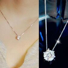 Charm Women Simple Zircon Rhinestone Necklace Shine Diamond Silver Chain Jewelry