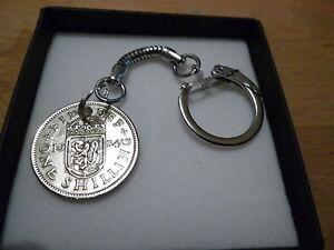English Shilling Elizabeth (1952-1967)Coin Keyring - Gift Box-Free UK Postage