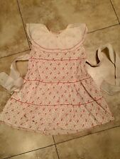 CHILDS TODDLERS LITTLE GIRLS RED AND WHITE TINY FLORAL VINTAGE 1940's DRESS