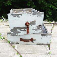 2x Deko Schublade /Set Holz Vintage Pflanztopf Shabby Blumentopf Pflanzschublade