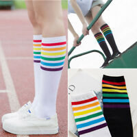 1Pair Soft CottonThigh High Socks Over Knee Rainbow Stripe Girls Football Socks