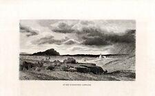 Stampa antica CAMPAGNA DI ROMA veduta panoramica 1880 Old Print Rome
