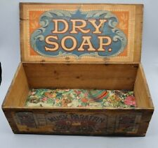 More details for antique victorian days dry soap wooden advertising trunk box c1900