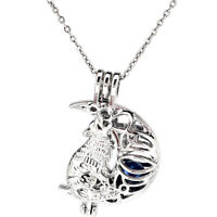 """Wolf Pearl Beads Cage Moon Charm Perfume Diffuser Necklace 18""""-K1165"""