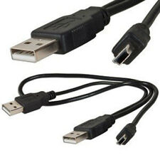 1x Double USB 2 A / 2 Male USB B Mini to 5pin Data Power Cable Cord Vin