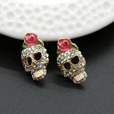 Halloween Crystal Skull Head Women Flower Heart Ear Stud Earrings Jewellery Gift