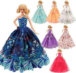 5 Pcs Handmade Fashion Wedding Party Gown Dresses & Clothes For Barbie Doll Gift