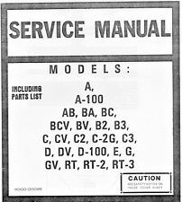 HAMMOND ORGAN SERVICE MANUAL A,B,C,D,E,G,RT MODELS