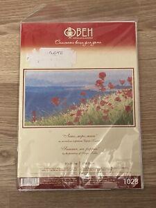 Oven/Obeh Cross Stitch Kit 'Summer, Sea, Poppies' Sergei Kolba Painting 37x20cm