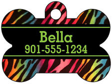 Rainbow Zebra Print Pet Id Tag for Dogs & Cats Personalized w/ Name & Number