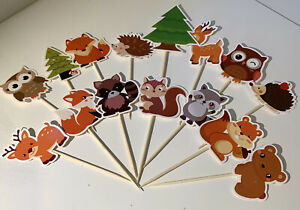 Woodland Animals Party Cup Cake Toppers Birthday Party Decorations Set of 15 pcs
