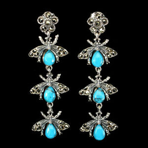 Natural Pear Blue TURQUOISE 6x4mm Marcasite 925 Silver Bug EARRINGS