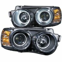 Anzo 121488 Projector Headlight Set w/Halo Clear Lens Black Housing Pair CCFL