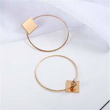 Chic Women Gold Metal Square Big Circle Large Ring Stud Earrings