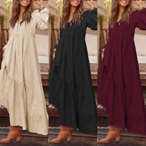 ZANZEA UK Womens Long Sleeve V-Neck Kaftan Vintage Casual Loose Baggy Maxi Dress