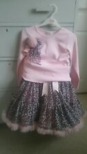 Oopsy Daisy Baby pink leopard print Pettiskirt & matching top worn once 6-8yrs