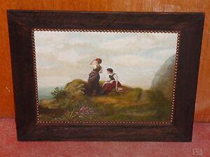 Jugendstil  - G. Leis - 1896 - zwei junge Frauen schauen in die Ferne