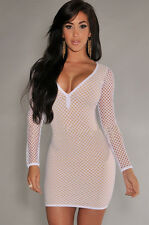 New white & nude fishnet bodycon mini dress club party summer wear size UK 10