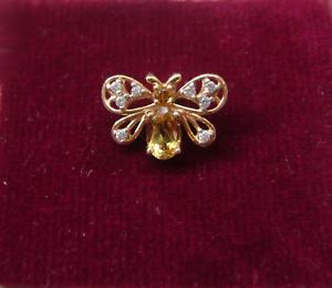 14k Rose Gold Citrine & Cz Bee Pendant
