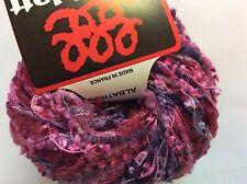Anny Blatt Albatross #213 Fuchsia Pink & Purple Wool Nylon Flag Sparkly Yarn 50g