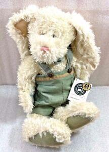 "Boyds Roscoe P. Bumpercrop White Bunny Rabbit plush w/Green overall shorts 17"""
