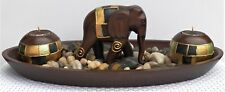 EXCELLENT TABLETOP DISPLAY AN ELEPHANT, TEA LITE  HOLDERS, STONES & AN OVAL TRAY