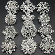 Lot 12pc Mini Mixed Alloy Sliver Rhinestone Crystal Brooches Pins DIY Bouquet