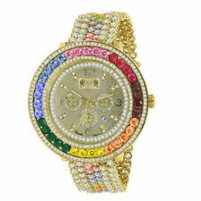 Mens Real Genuine Diamond Rainbow Multi Tone 18K Yellow Gold Finish Custom Watch