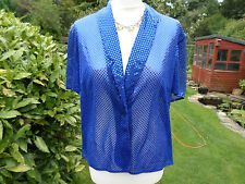 VINTAGE BLUE SEQUIN BOLERO  SHRUG BERKERTEX JACKET WEDDING PARTY CRUISE HOLIDAY