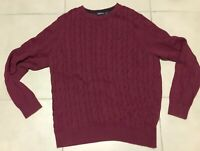 Men's Nautica Burgundy Cable Knit Vintage Sweater size M Medium pullover