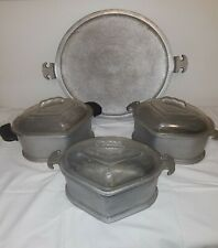 Vintage Guardian Service Triangle Aluminum Cookware Roasters Glass With Lids