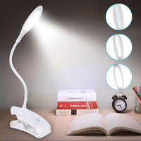Flexible Reading Light USB Rechargeable Clip On Dimmable LED Touch Desk Bed Lamp