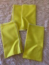 4 Vintage Cloth Yellow With White Polka Dot Napkins