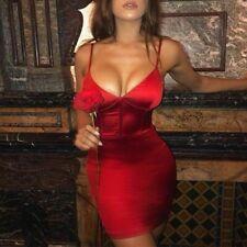 Femmes col en v sans manches en satin de soie moulante sexy mini robe de...