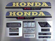 ATC 110 Honda Stickers Set Warning Advice Vintage Trike 1980 Sticker/Decals